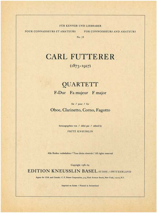 Quartett F-Dur: für Oboe, Klarinette, Horn und Fagott