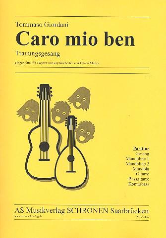 Caro mio ben: für Sopran und Zupforchester Partitur