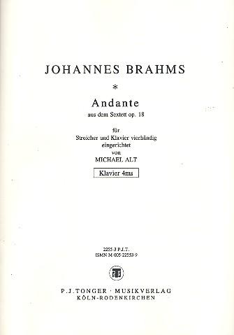 Andante opus.18: für Streicher und Klavier zu 4 Händen