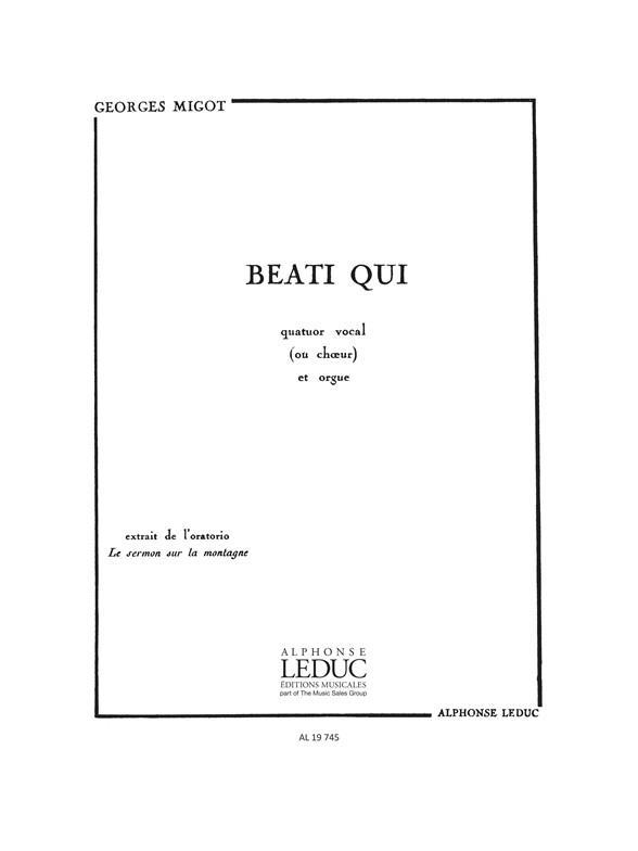 Beati qui: pour 4 voix mixtes (choeur) et orgue