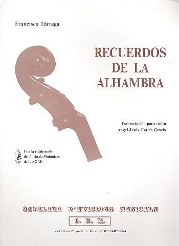 Recuerdos de la Alhambra: para violino
