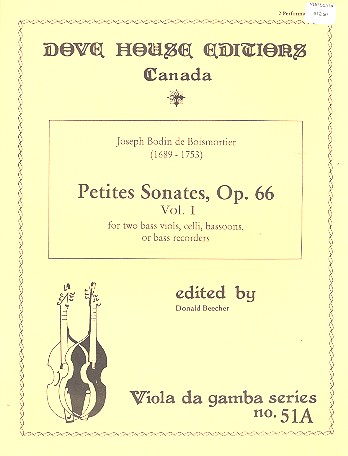 Petites sonates opus.66 vol.1: for 2 bass viols (celli/Bassoon/bass refcorders)