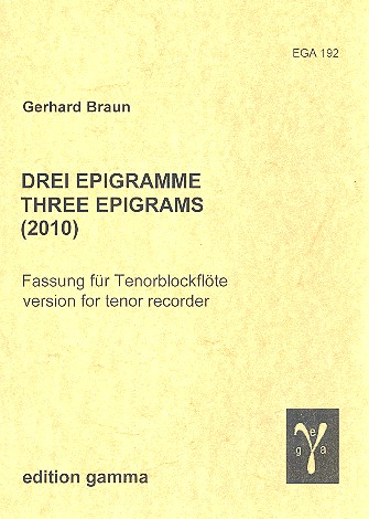 3 Epigramme: für Tenorblockflöte
