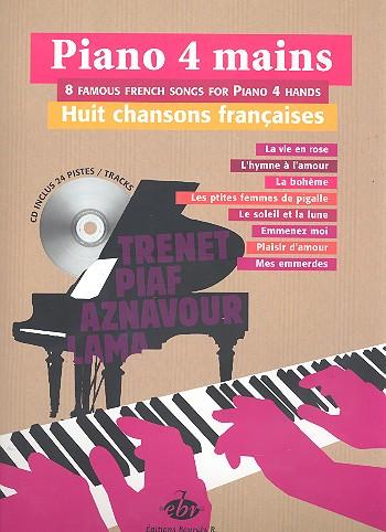 8 Chansons francaises (+CD): pour piano à 4 mains