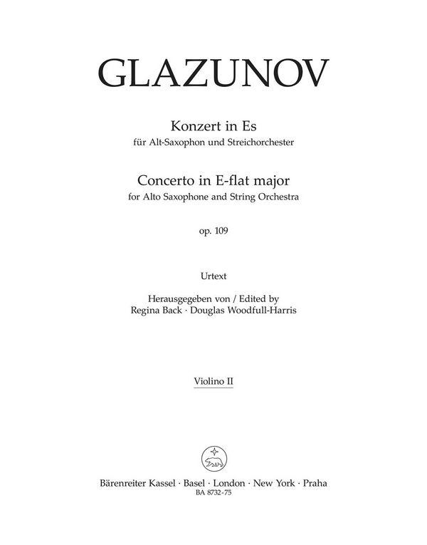 Konzert Es-Dur op.109: für Altsaxophon und Streichorchester