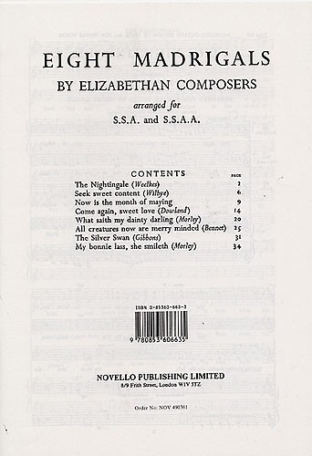 8 Madrigals by Elizabeth Composers: for female chorus and piano