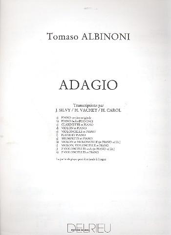 Adagio: pour violon, violoncelle et piano