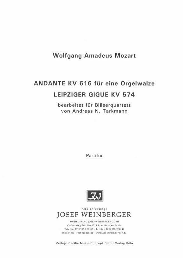 Andante KV616 und leipziger Gigue KV574: für Flöte, Oboe, Klarinette und Fagott