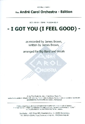 I got You (I feel good): for voice and big band