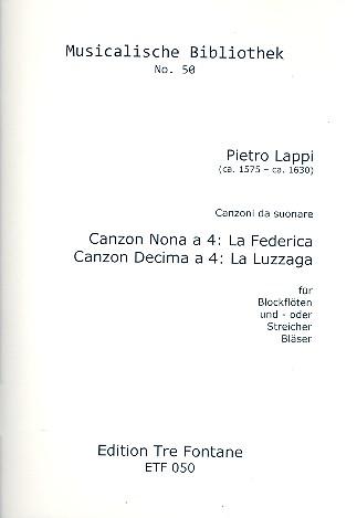 2 Canzoni da suonare: für 4 Instrumente (Blockflöten/Streicher/Bläser)
