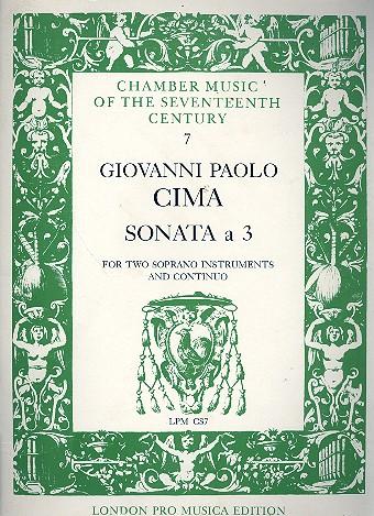 Cima, Giovanni Paolo - Sonata a 3 : for 2 soprano instruments