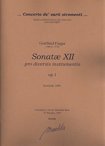 12 Sonatae opus.1: pro diversis instrumentis partitura e parti