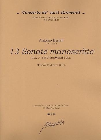 13 Sonate manoscritte: für 2-6 Instrumente und Bc