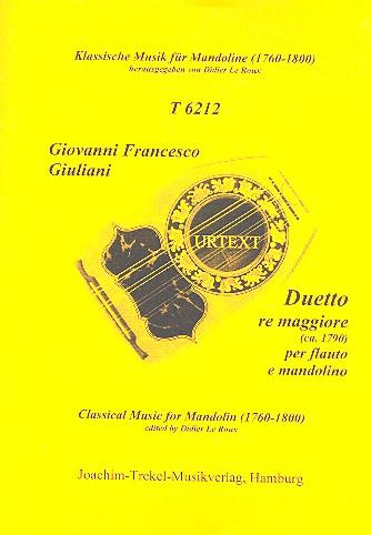 Duetto in re maggiore: für Flöte und Mandoline