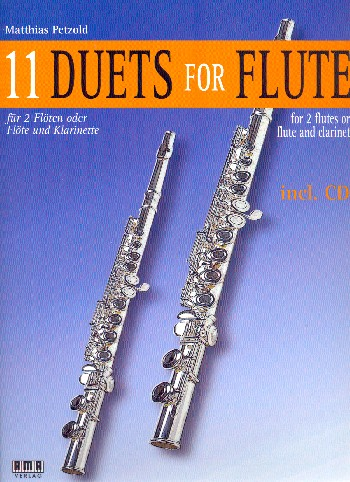 11 Duets (+CD): for 2 flutes (flute and clarinet (piano ad lib)