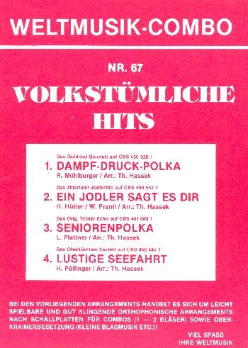 Volkstümliche Hits Band 67: für Combo (Oberkrainer Besetzung)