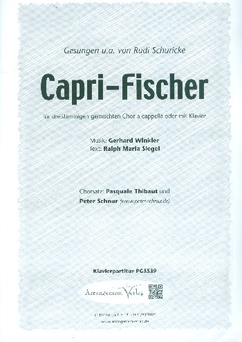 Capri-Fischer: für gem Chor (SAM) a cappella (Klavier ad lib)