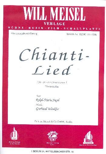 Chianti-Lied: für Chor und klavier