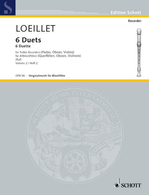 Loeillet de Gant, Jean Baptiste - 6 Duette Band 2 : für