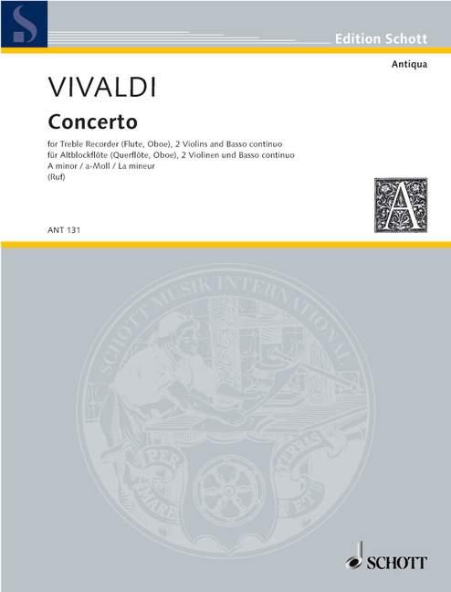 Vivaldi, Antonio - Konzert a-moll RV108 : für Altblockflöte, 2 Violinen und Bc