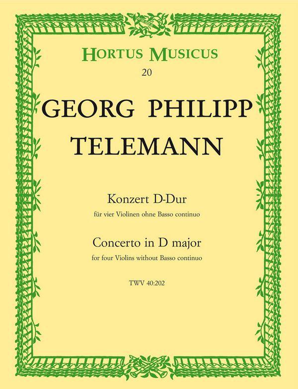 Telemann, Georg Philipp - Konzert : für 4 Violinen ohne Bc