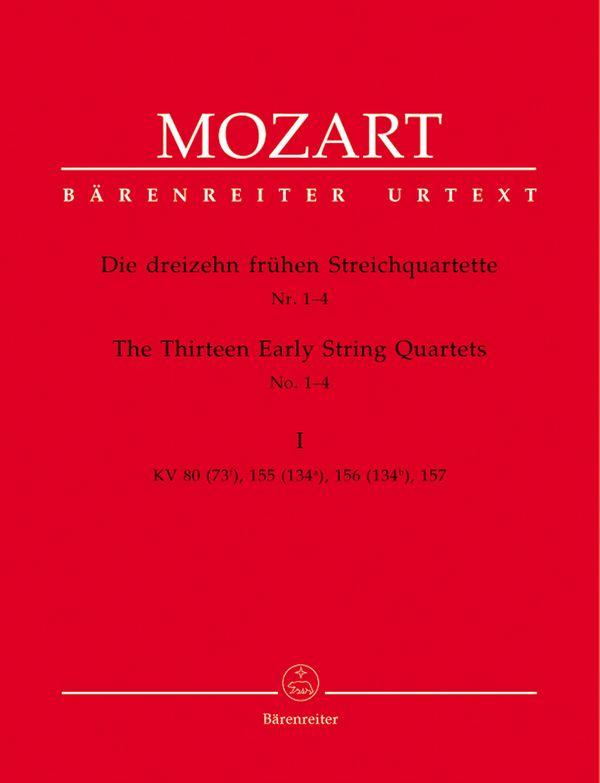 13 frühe Streichquartette Band 1 Stimmen  (KV80, 155, 156, 157)