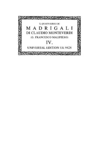 IL QVARTO LIBRO DE MADRIGALI A CINQUE VOCI         PARTITUR (IT)