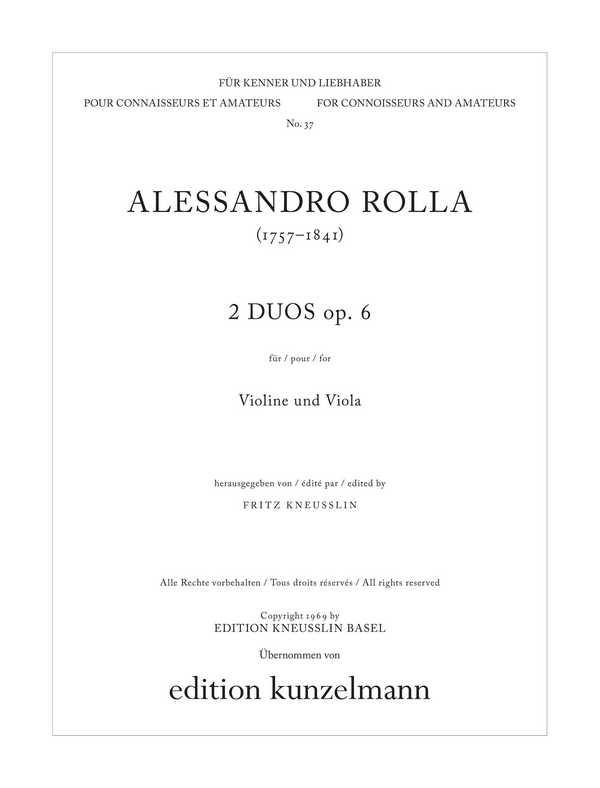 2 Duos C-Dur opus.6,1 und g-Moll opus.6,2: für Violine und Viola