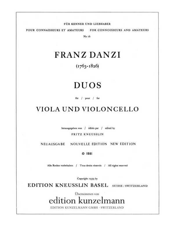 Duos : für Viola und Violoncello Stimmen