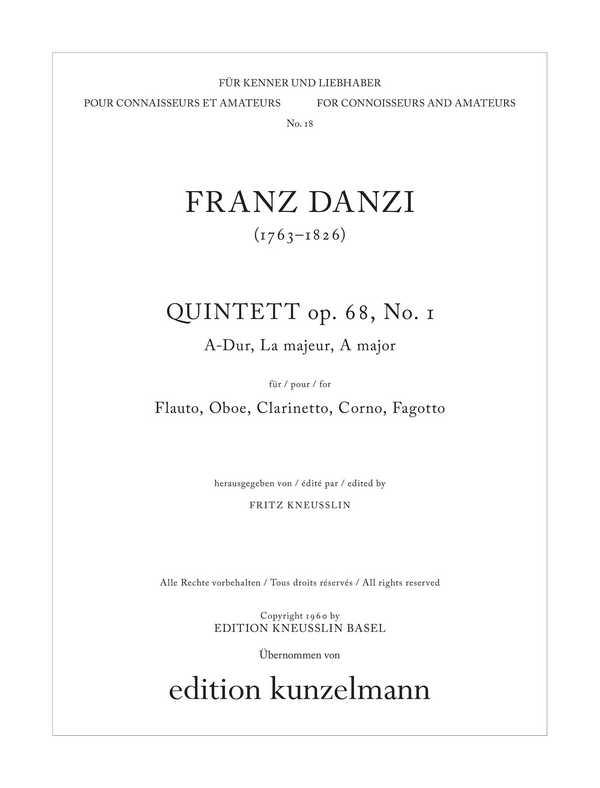 Quintett A-Dur opus.68,1: für Flöte, Oboe, Klarinette, Horn und Fagott