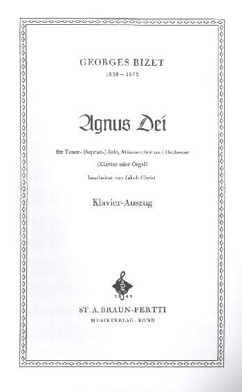 Agnus dei: für Tenor solo, Männerchor und Orchester
