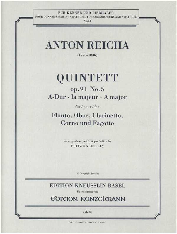 Quintett A-Dur opus.91,5: für Flöte, Klarinette, Horn und Fagott