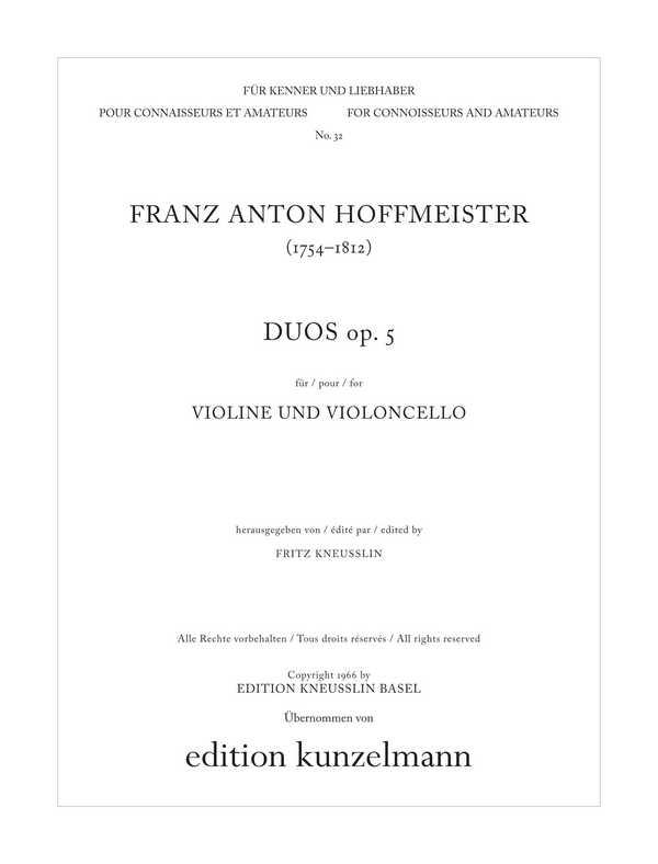 Duos opus.5: für Violine und Violoncello