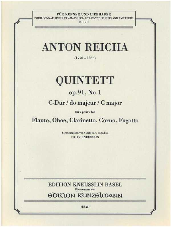 Quintett C-Dur opus.91,1: für Flöte, Oboe, Klarinette, Horn und