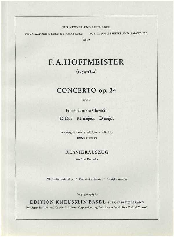 Konzert D-Dur opus.24 für Klavier und Orchester: