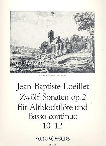 12 Sonaten op.2 Band 4 Nr.10-12: für Altblockflöte und Klavier