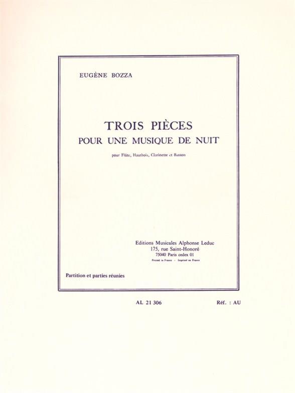 3 pieces pour une musique de nuit: pour flute, hautbois, clarinette et