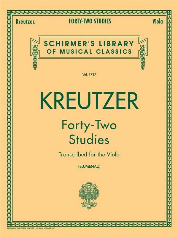 Kreutzer, Rodolphe - 42 Studies : for the viola