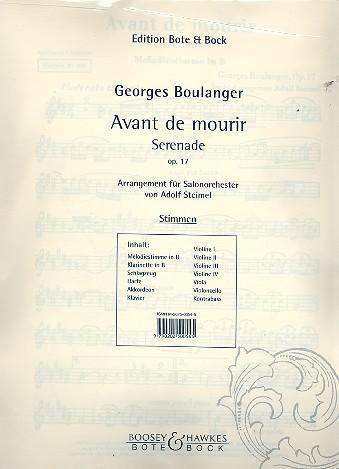 Avant de mourir opus.17: Serenade für Salonorchester