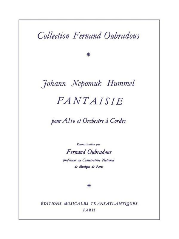 Hummel, Johann Nepomuk - Fantaisie pour alto et