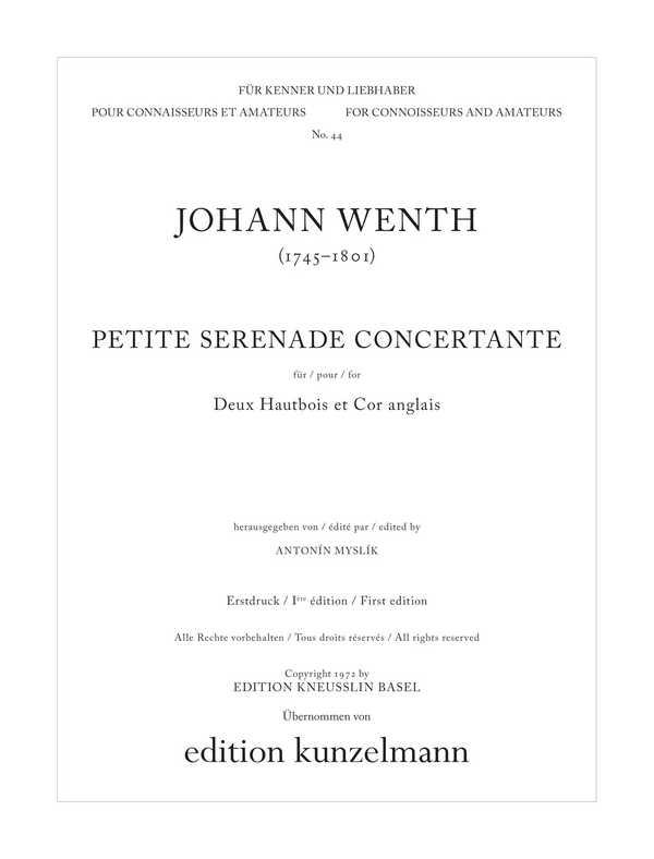 Petite serenade concertante F-Dur: für 2 Oboen und Englischhorn