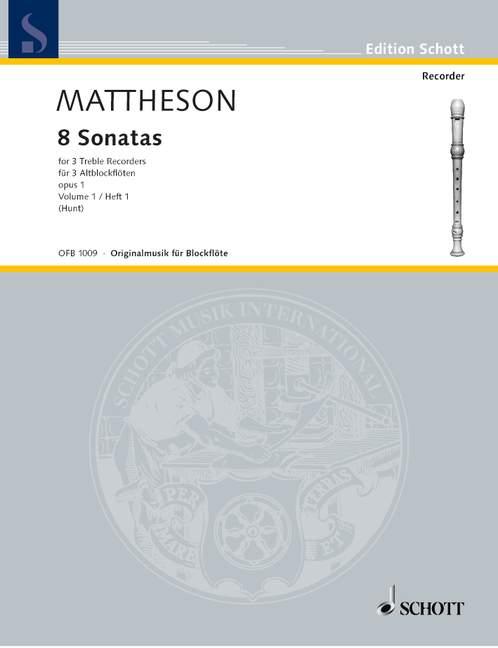 8 Sonaten op.1 Band 1: für 3 Altblockflöten