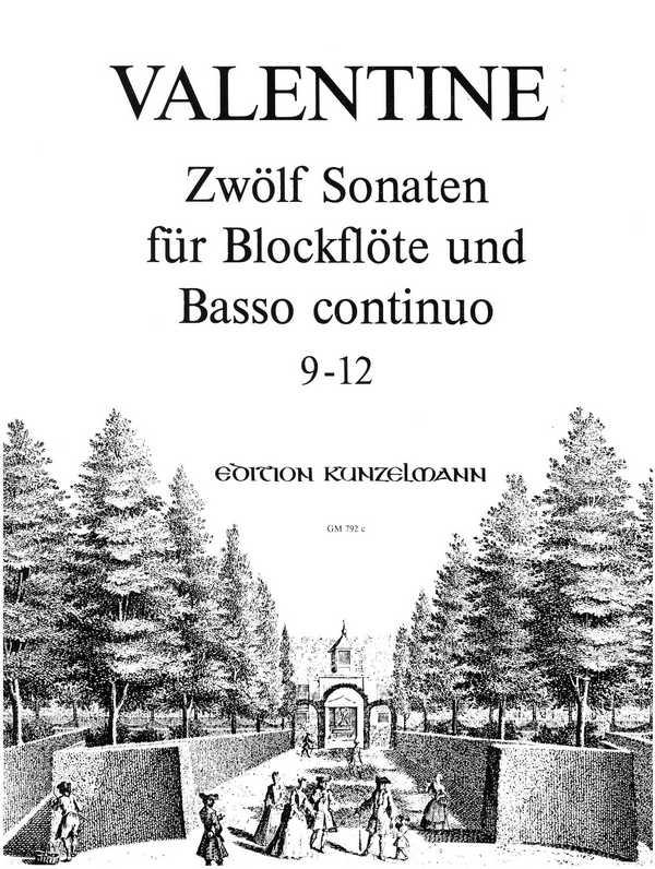 12 Sonaten Band 3 (Nr.9-12): für Blockflöte und Bc