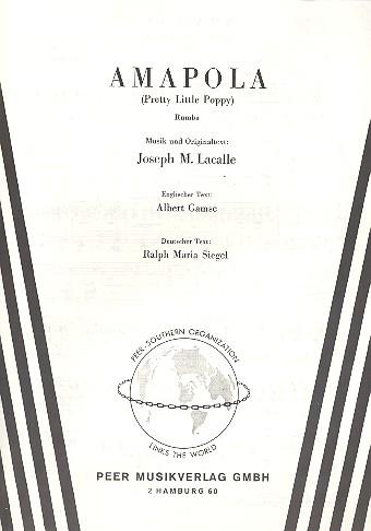 Amapola: Einzelausgabe Gesang und Klavier