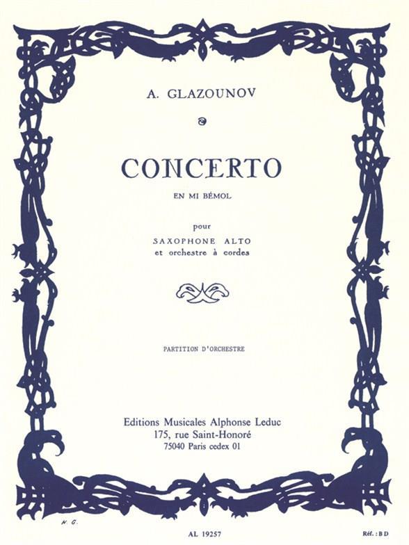 Concerto mi bemol majeur op.109: pour saxophone alto et orchestre