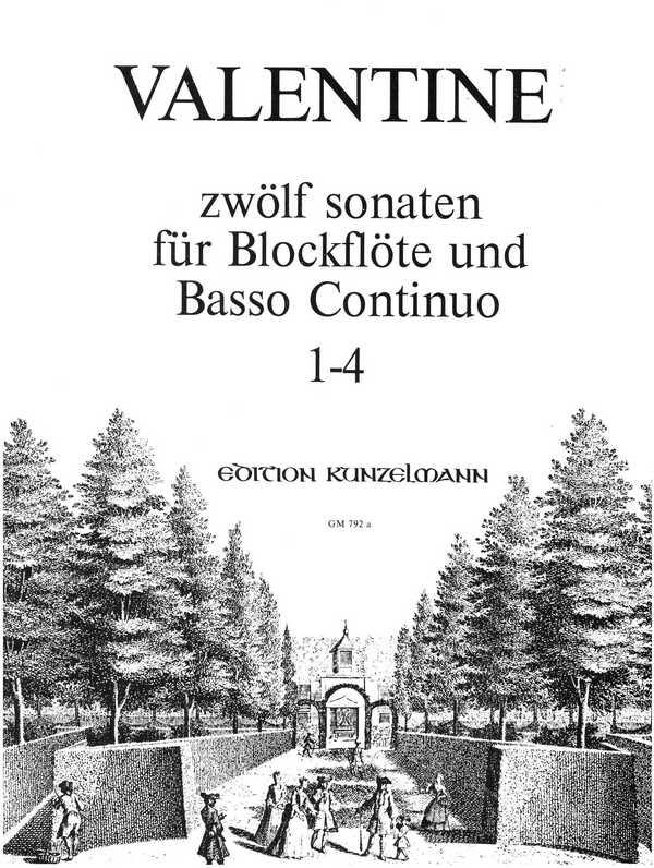 12 Sonaten Band 1 (Nr.1-4): für Blockflöte und Bc