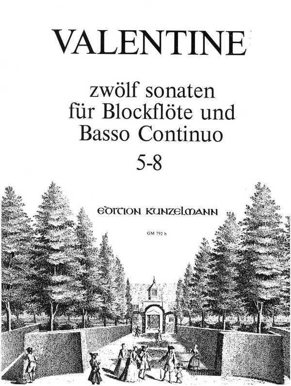 12 Sonaten Band 2 (Nr.5-8): für Blockflöte und Bc