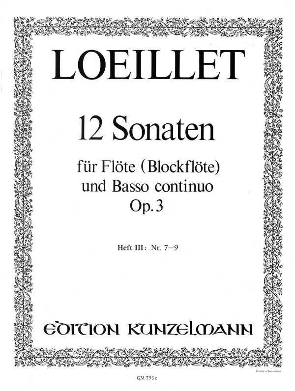 12 Sonaten opus.3 Band 3 (Nr.7-9): für Flöte und Bc
