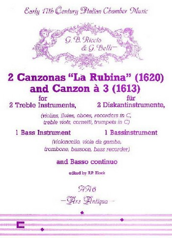 2 canzonas (la rubina, canzon a 3) für 2 Diskantinstrument, 1 Baßinstrument