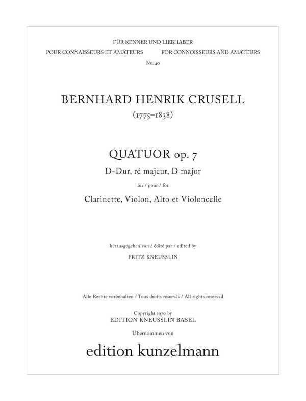 Quartett D-Dur opus.7: für Klarinette und Streichtrio